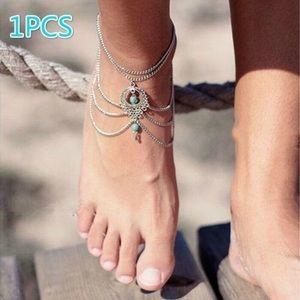 BOHO turquoise bead foot jewelry